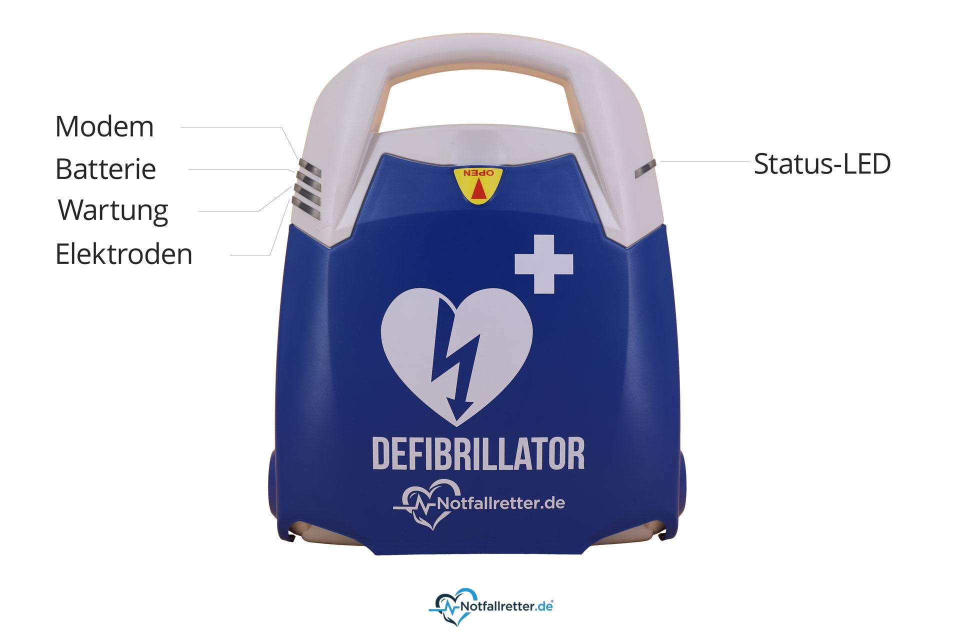 Notfallretter.de® Defibrillator AEDBasicmit vollautom. Schockauslösung, Autostart, AED-Set, Vollausstattung
