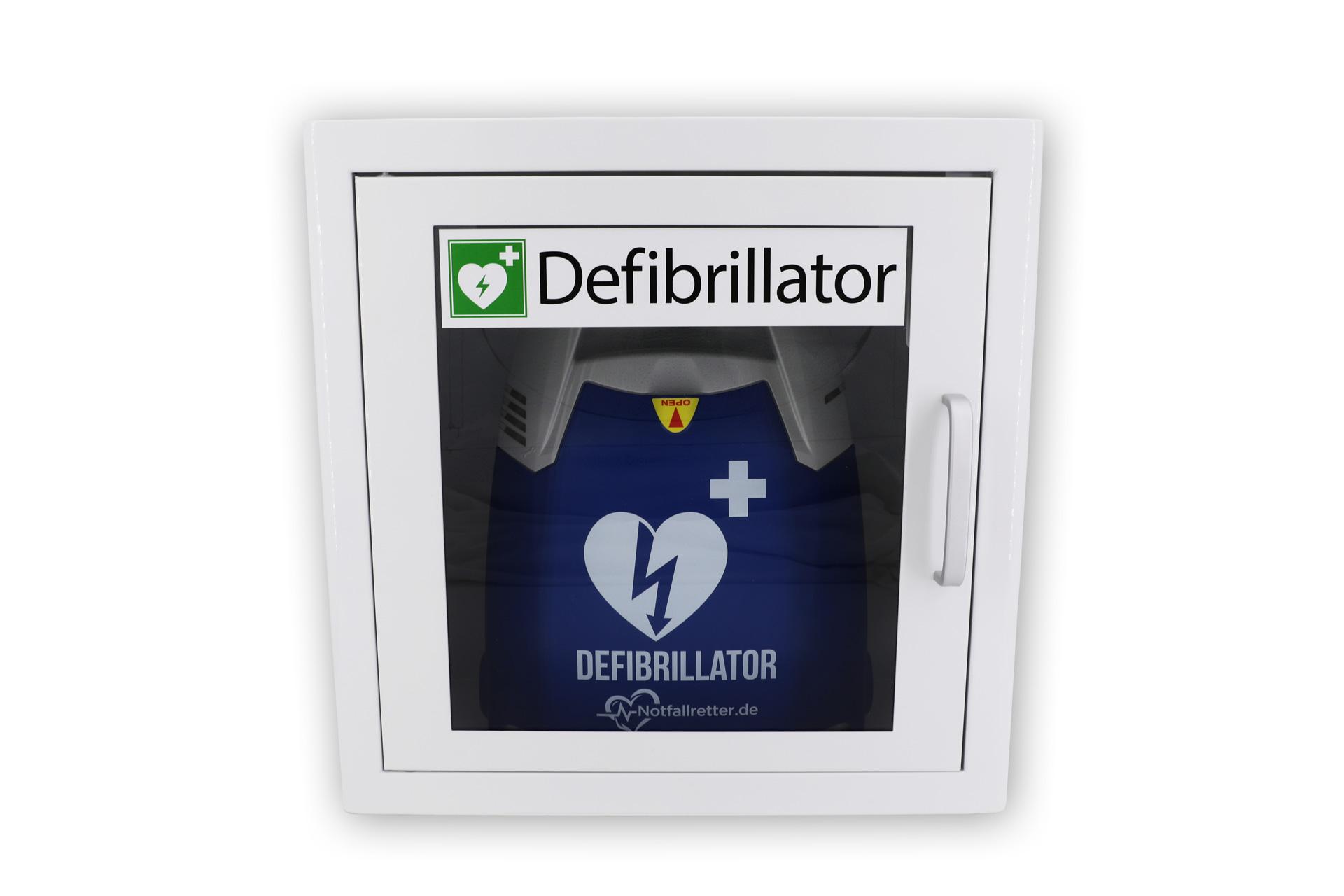 Wandschrank für Defibrillator AED mit Kunststoffschauglas und Alugriff aus Metall