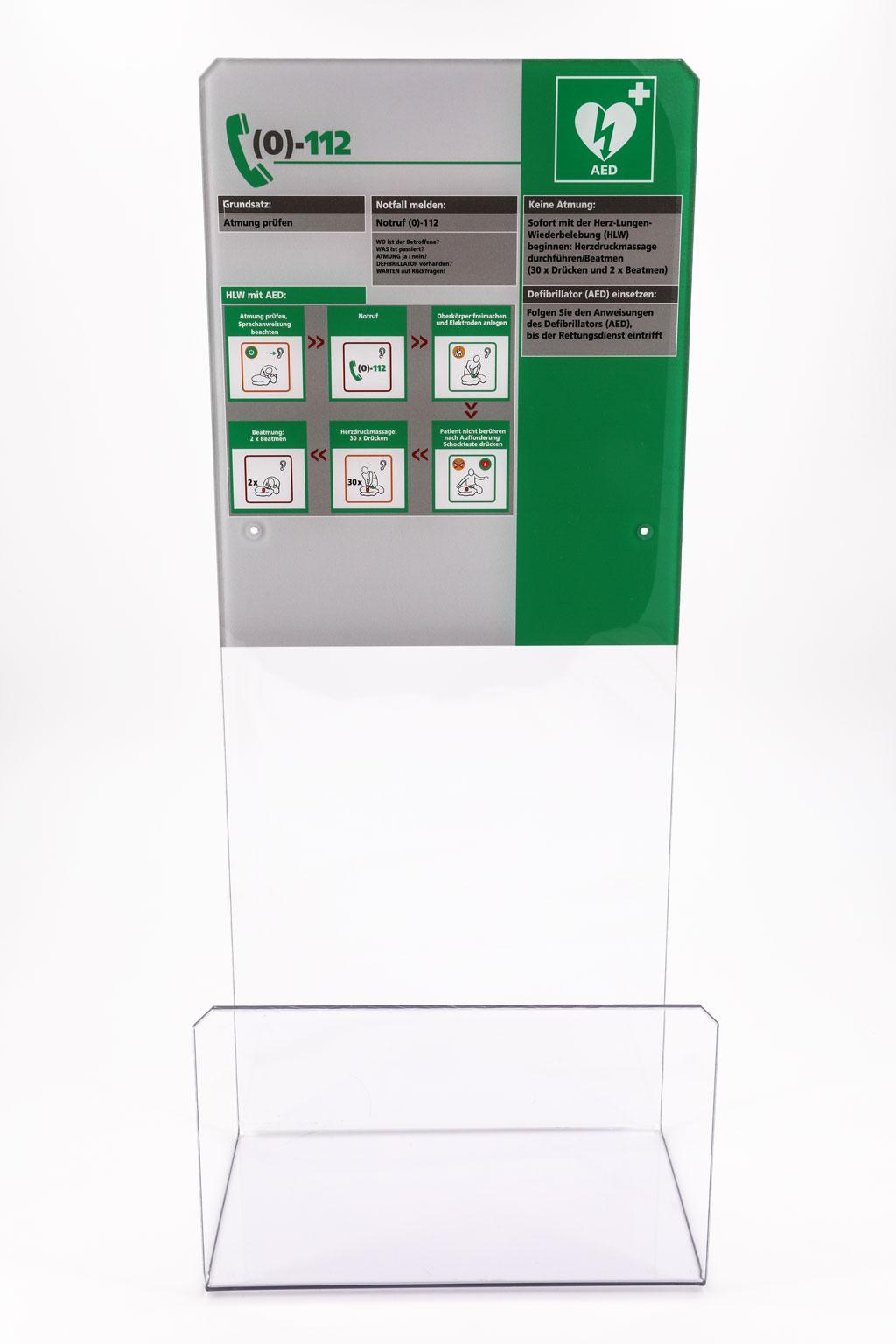 Design-Acrylglaswinkel mit Erste-Hilfe-Tafel (DGUV) für alle Defibrillator Marken